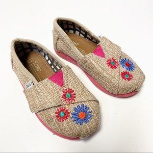 TOMS Baby Burlap Pink Flower Velcro Shoes 5T